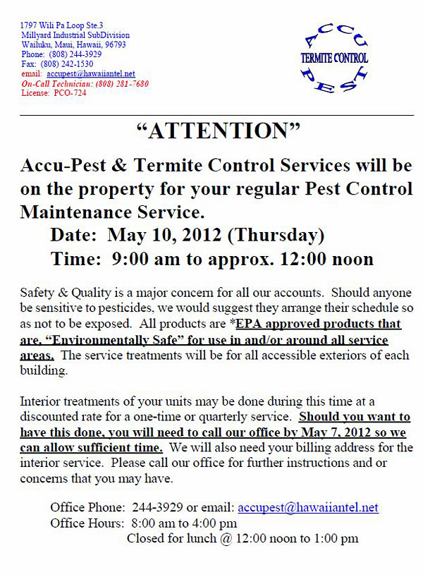 Notice of Pest Control Services – May 2012 | Cottages at Kulamalu